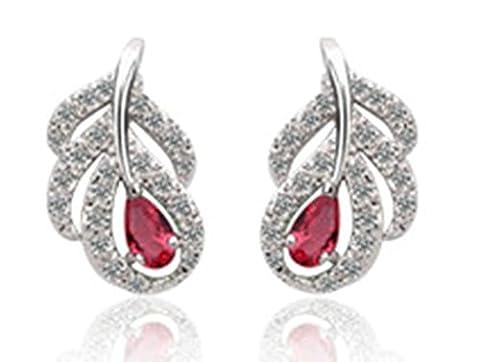Beydodo Mode Ohrschmuck Vergoldet Ohrstecker für Damen 3-Steg-Krappenfassung Rot AAA Zirkonia Mulberry Blattform Ohrringe Rot