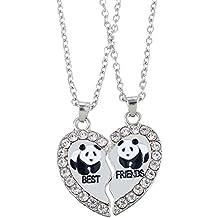 """HOUSWEETY 2 Pcs Collier d'Amitie Forever Pendentif Coeur Briser Couple Puzzle Pandas """"best friends"""" pour Femme"""