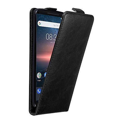 Cadorabo Hülle für Nokia 8 Sirocco/Nokia 9 2017 - Hülle in Nacht SCHWARZ - Handyhülle im Flip Design aus Struktur Kunstleder - Case Cover Schutzhülle Etui Tasche