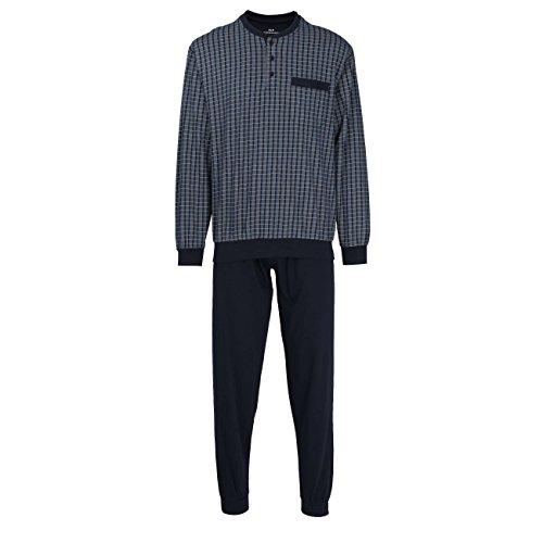 GÖTZBURG Herren Pyjama, langarm, Baumwolle, Single Jersey, grau, kariert, mit Bündchen 58 (Herren Zwei-knopf-single)