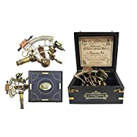 The New Antique Store - Sextant Large Brass Navigation Instrument Sextante Navegacion Marine Sextant in Hardwood Gift Box