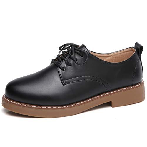 Frauen Schuhe Low Heels Müßiggänger Schnüren Split Leder Mikrofaser Solide Runde Kappe Büro Flats Beige Kleid Turnschuhe