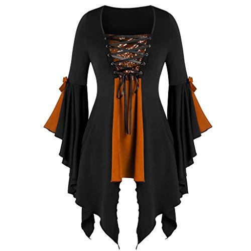 GOKOMO Frauen Plus Größen-Lange Hülsen-Oberseiten Sequined Bluse schnüren Sich Oben gotisches Tunika-T-Stück(Orange-a,XXXXX-Large)