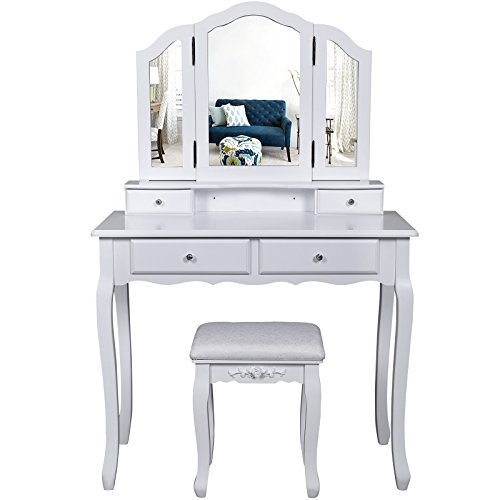 Songmics Wall Fixed 3 Mirror Dressing Table With Stool, 4 Drawers Incl. 2  Dividers Make Up Dresser RDT07   Low Cost UK Light Store.