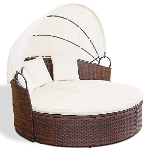 Miadomodo Hochwertige Polyrattan Ø 180 cm Sonneninsel Lounge Liege (Farbwahl) inkl. Kissen, Sitzauflage und Sonnendach (Braun) - 3