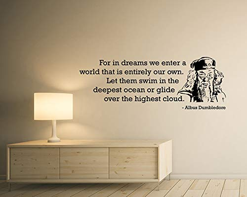 for In Dreams We Enter A World Albus Dumbledore Quote Wall Decal Harry Potter Vinyl Sticker Inspirational Saying Art Home Room Decor Mural for Home Bedroom Decoration Wall Decal Room Art Gift