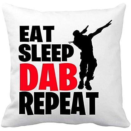Cojín con Relleno Eat Sleep Dab Repeat - Blanco...