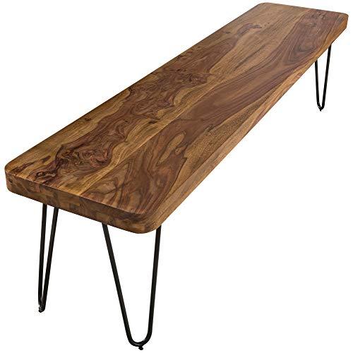 FineBuy Massive Sitzbank 120 x 40 cm Harlem Sheesham Holz Bank für Esstisch Massiv | Küchenbank Massivholz | Essbank ohne Lehne für Esszimmer