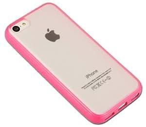 eDigital4u® Premium Hot Pink Bumper 'SuperTrim' Case with Transparent Back Cover for iPhone 5C - Includes FREE eDigital4u® Cleaning Screen Cloth