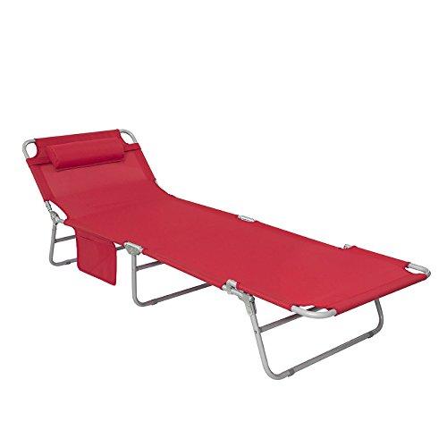 SoBuy® OGS35-R Gartenliege Sonnenliege Relaxliege mit Seitentasche Liegestuhl klappbar, rot, BHT ca.: 195x29x62cm (Gepolsterten Bequem Chaiselongue)