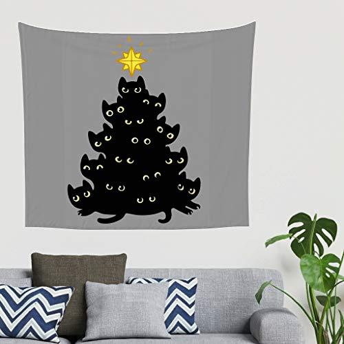 O1FHW-8 Katzen Weihnachtsbaum Musterdruck Wandbehang Mandala übergroß Bettlakendecke - Black Funny für Tischdekorationen White 40 * 59