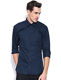 Oshano Men's Casual Formal Solids Long Sleeves Shirt Collar Slim Fit Blue Cotton Shirt 1