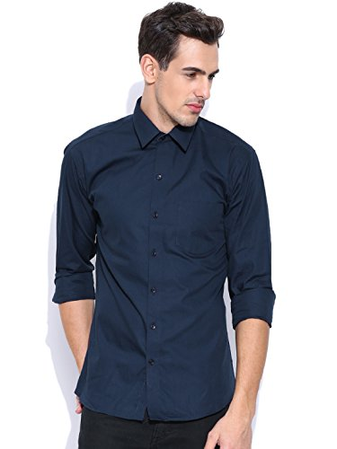 Oshano Men's Casual Formal Solids Long Sleeves Shirt Collar Slim Fit Dark Blue Cotton Shirt 1  available at amazon for Rs.278