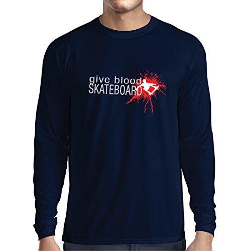Langarm Herren t Shirts Gib Blut Skateboard! - lustige Skateboard Zitate, Pro Skater (Large Blau Mehrfarben)