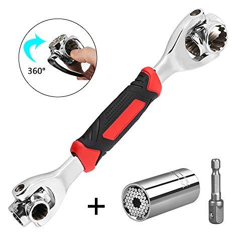 YLX Schraubenschlüssel 8 in 1 Steckschlüssel Multifunktionsschlüssel Werkzeug mit 360 Grad Drehkopf & Steckschlüssel Multi Funktions Handwerkzeuge 7-19mm, Universal Möbel Auto Reparatur (Rot)