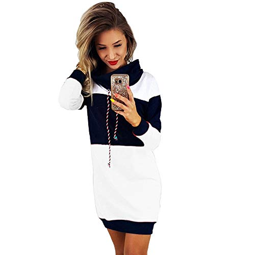 Robe Sweat à Capuche Color Block,Overdose Manches Longues Oversize Robe Sweat Longue Casual Pullover Hoodie Dress (40, Blanc)