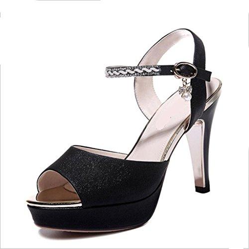 W&LM Signorina Tacchi alti sandali Fibbia di parole Ok Tacchi alti Scarpe di bocca di pesce Black