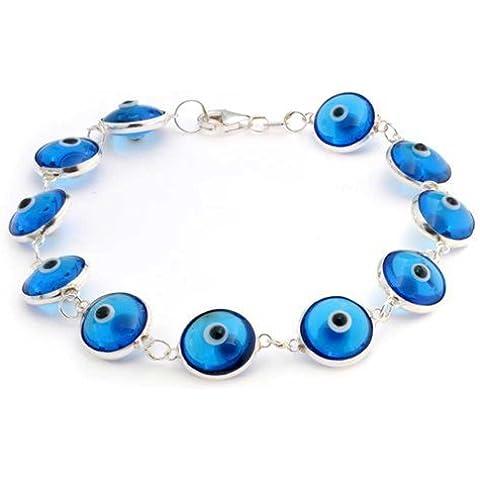 Bling Jewelry Sterling Silver blu traslucido diabolico Bead Eye Bracciale 7 pollici
