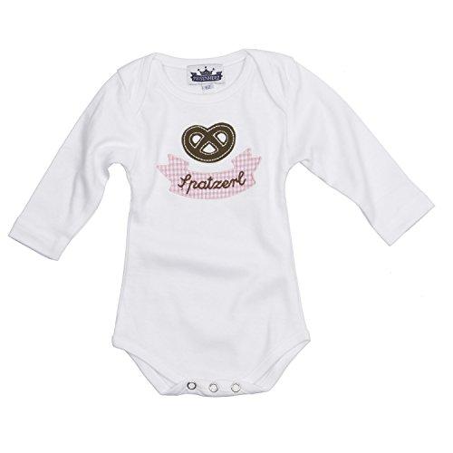 Baby Body langarm rosa Spatzerl und Breze in verschiedenen Größen - süßer Trachtenlook Größe 80