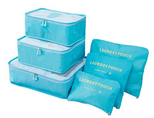 6 Set Pack Organizer Taschen für Koffer 6er Kleidertaschen für Kleidung Unterwäsche Socken 4 Farben Blau/Grau/Dunkelblau/Rosa Blau