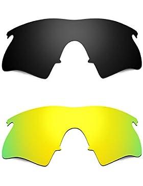 Hkuco Plus Mens Replacement Lenses For Oakley M Frame Heater Black/24K Gold Sunglasses