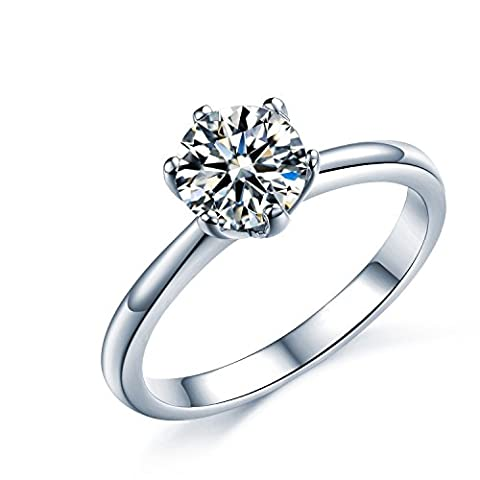 925 Sterling Silver Brilliant Round Cut Crystals Solitaire Promise Forever