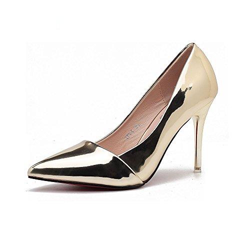 TYLS Shoes lww-Calzature donna tacchi appuntita in pelle colore solido di altezza di un punto: 9cm B paragrafo: 7cm Gold-A