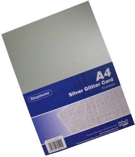 Stephens Glitzer-Karton, A4, 220g/m², silberfarben Silber-glitzer-papier-karton