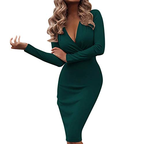 Shenye Frauenkleider Herbst Frühling Winter Mode Sexy Langärmelige Tiefem V-Ausschnitt Fit Arbeit Kleid Büro Kleid Business Bleistift Kleid Mantel Stretch Mini Kleid Einfarbig Kleider Party Dress -