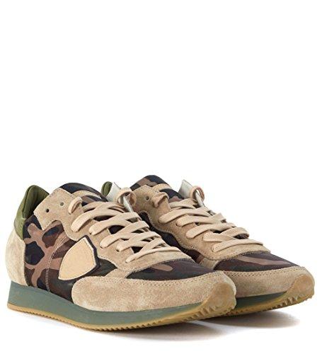 Baskets Philippe Model Tropez en tissu camouflage et beige Brun