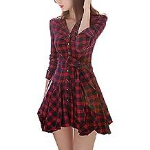Minetom Mujer Tartán Vestido Manga Larga V-Cuello Largo Camisa Tops Mini Vestido