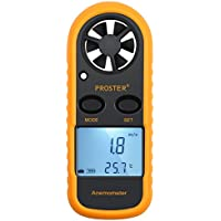 Proster Windmesser digital LCD Wind Speed Meter Gauge Air Flow Geschwindigkeit Messung Thermometer mit Hintergrundbeleuchtung für Windsurfen Kite Flying Segeln Surfen Angeln etc.