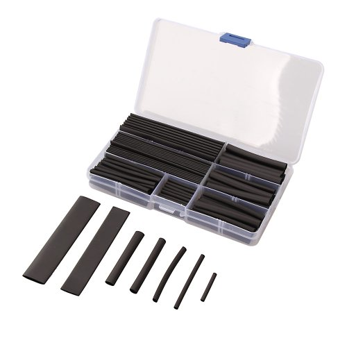 Hrph 150pcs 2:1 Tubes Gaine Thermorétractable Tube Manchon Isolant Mains Câble 8 Tailles 2-13mm Noir