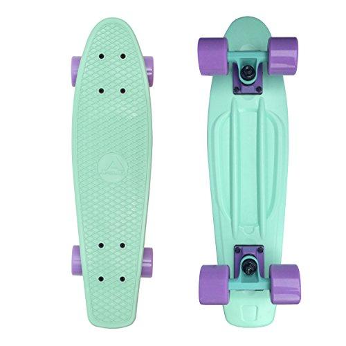 Apollo Fancy Skateboard, Vintage Mini Cruiser, Komplettboard, 22.5inch (57,15 cm), Mini-Board mit Holz Oder Kunstsoff Deck mit und Ohne LED Wheels, Farbe: Candy Mint/Rosé