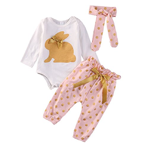 Mameluco Bebé Niña Recién Nacidos Conejo Conjuntos de Ropa Top + Pantalones Ropa Set Blanco y Rosa (Tamaño 70cm 0-3 meses)