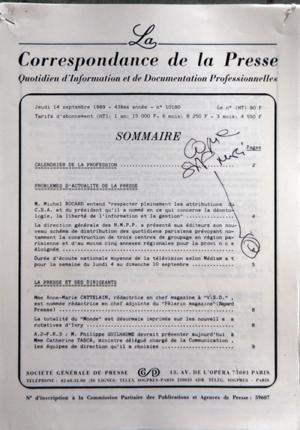 CORRESPONDANCE DE LA PRESSE (LA) [No 10180] du 14/...