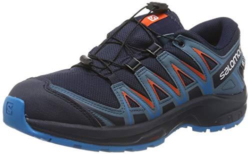 Salomon Kinder XA Pro 3D CSWP J, Trailrunning-Schuhe, Wasserdicht, Blau (Navy Blazer/Mallard Blue/Hawaiian Surf), Größe 36