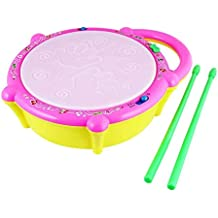 Popsugar Flash Drum with Sticks - Pink and Yellow