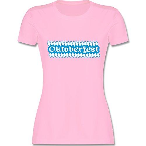 Oktoberfest Damen - Oktoberfest Rauten - tailliertes Premium T-Shirt mit Rundhalsausschnitt für Damen Rosa