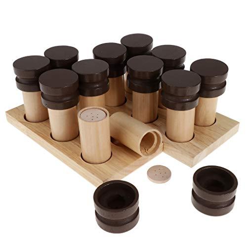 Juegos de Montessori Caja de Soporte Material Sensorial Fragancia con Olor Cilindro Botella Madera
