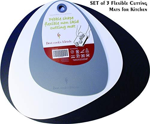Schneidebretter für Küche, Schneidebrett Mats-Flexible Kunststoff nicht rutschen-Set von 3Blatt-Spülmaschinenfest, antimikrobiellen 2mm dick Langlebig, Leicht Zu Reinigen - Nicht Mat
