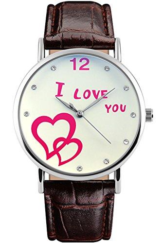 Skmei Herren Uhren Damenuhren Elegant Quarzuhr Herz Mode Design Liebhaber Schöne Leder Armbanduhr
