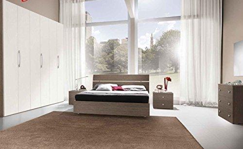 Klipick camera matrimoniale simona. composizione: comó + specchio. coppia di comodini. armadio a 6 ante. letto contenitore