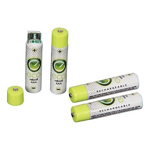 Preisvergleich Produktbild Eco USB Zelle Wiederaufladbare AA / AAA Batterie 4 Pack – Recharge 500 x durch jeden USB-Anschluss – nie kaufen oder Überwurf Away wieder eine Akku (AAA)