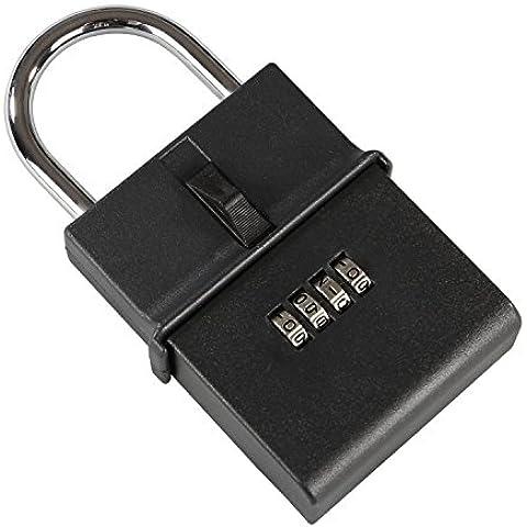 HMF 311-02 Caja fuerte para llaves con cerradura de combinación, candado 15,4 cm , negro