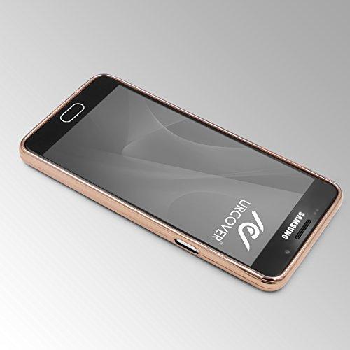 Urcover® Apple iPhone 6 / 6s Back-Case Handy Schutz-Hülle Metall Optik Silikon in Rosa TPU Cover Smartphone Zubehör Tasche flexible Ultra Slim Handyhülle Gold