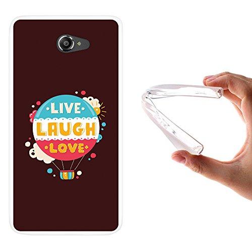 WoowCase Vodafone Smart Ultra 7 Hülle, Handyhülle Silikon für [ Vodafone Smart Ultra 7 ] Satz im Kugel - Live Laugh Love Handytasche Handy Cover Case Schutzhülle Flexible TPU - Transparent