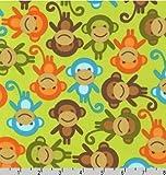 Fat Quarter Urban Zoologie Affen auf Grün Quilting