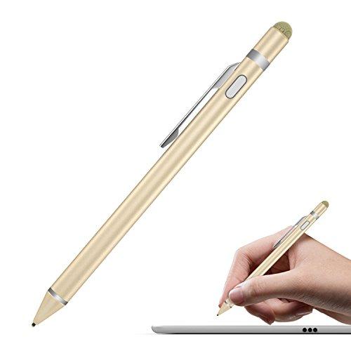 Moko Stylus Actif, 2 en 1 1.5mm Haute Précision Stylus Capacitif Universel, Compatible avec tous les appareils à Ecran Tactile, iPad, iphone 8, Samsung etc. - Or