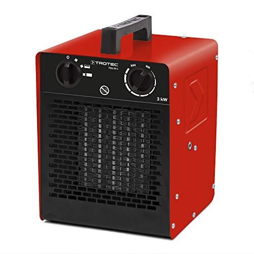 TROTEC 1410000092 TDS 20 C Keramik Heizlüfter Elektroheizer inkl. Mehrstufen-Temperaturregelung bis 3.000 Watt (3 kW) Bauheizer mit Thermostat -